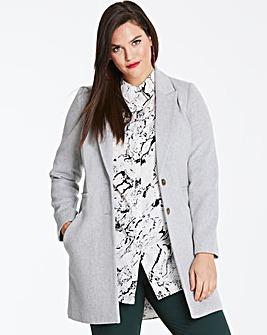 Wool Look Slim Lapel Coat