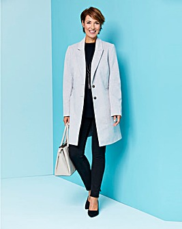 Grey Marl Wool Look Slim Lapel Coat
