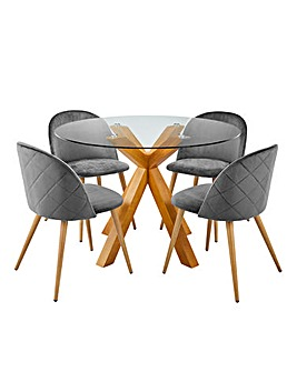 Albany Circular Table & 4 Klara Chairs