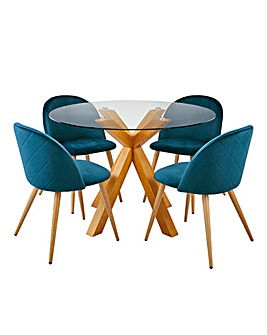 Albany Circular Dining Table with 4 Klara Velvet Dining Chairs