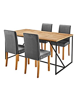 Soho Dining Table & 4 Mia Velvet Chairs