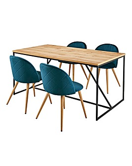 Soho Dining Table with 4 Klara Velvet Dining Chairs