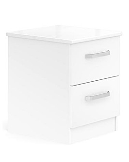 Kendal Ready Assembled High Gloss 2 Drawer Bedside Table