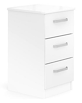 Kendal Ready Assembled High Gloss 3 Drawer Bedside Table