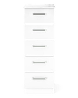 Kendal Ready Assembled High Gloss 5 Drawer Narrow Tallboy Chest