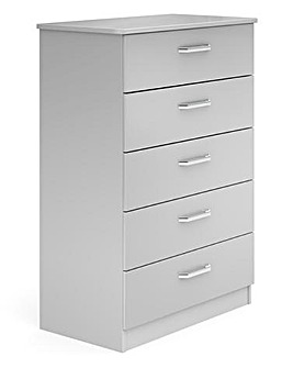 Kendal Ready Assembled High Gloss 5 Drawer Wide Chest