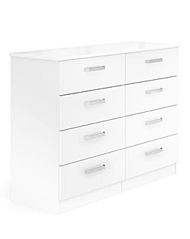 Kendal Ready Assembled High Gloss 4 Plus 4 Drawer Chest