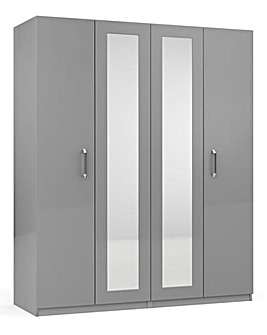 Kendal High Gloss 4 Door Wardrobe with Centre Mirror