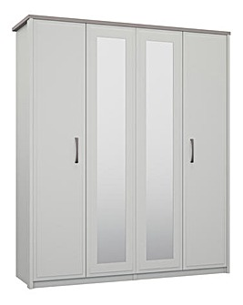 Lucille 4 Door Mirrored Wardrobe