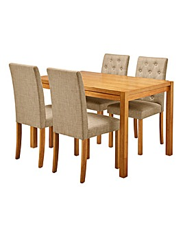 Oakham Table 4 Grace Fabric Chairs