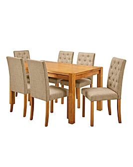 Oakham Table 6 Grace Fabric Chairs