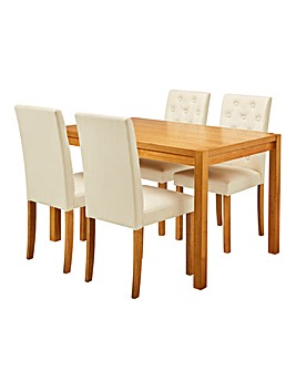 Oakham Table 4 Grace Faux Leather Chairs