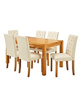 Oakham Table 6 Grace Faux Leather Chairs
