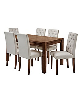 Oakham Table 6 Grace Faux Leather Chairs