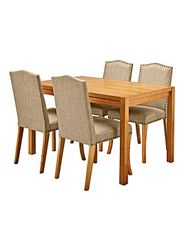 Oakham Table 4 Antonia Fabric Chairs