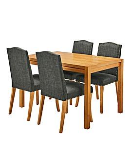Oakham Table 4 Antonia Fabric Chairs