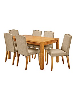 Oakham Table 6 Antonia Fabric Chairs