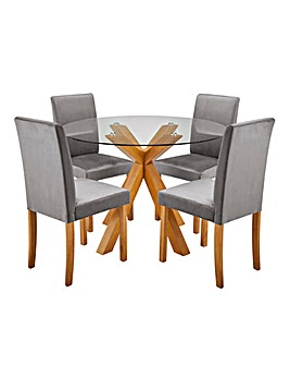 Albany Table with 4 Mia Velvet Chairs