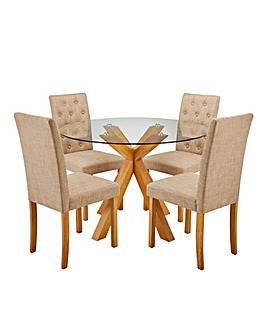 Albany Table with 4 Grace Fabric Chairs