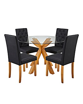 Albany Table 4 Grace Faux Leather Chairs
