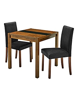 Oakham Glass Table 2 Mia Velvet Chairs