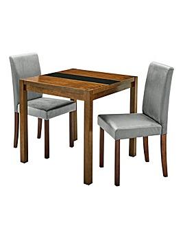 Oakham Glass Table 2 Mia Velvet Chairs