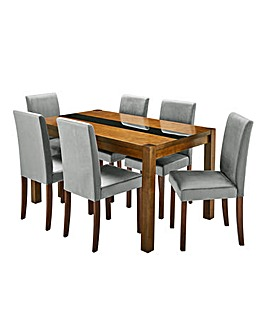 Oakham Glass Table 6 Mia Velvet Chairs