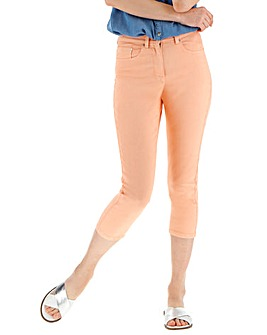 Soft Peach Everyday Crop Jeans