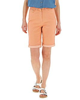 Peach Everyday Knee Length Denim Shorts