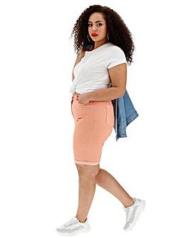 Peach Everyday Knee Length Denim Shorts