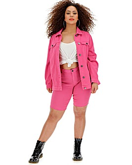 Pink Fern Knee Length Denim Shorts