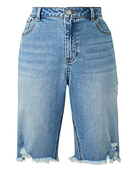 Bleachwash Fern Knee Length Denim Shorts