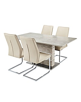 Esme Concrete Effect Rectangular Table 4 Atlanta Cantilever Chairs