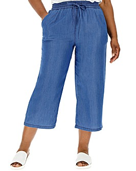 Mid Blue Soft Tencel Denim Crop Wide Leg Culottes