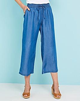 Mid Blue Tencel Crop Wide Leg Culottes