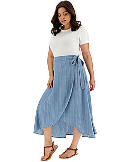 Blue Stripe Soft Tencel Denim Wrap Maxi Skirt