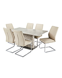 Esme Concrete Effect Rectangular Table 6 Atlanta Cantilever Chairs
