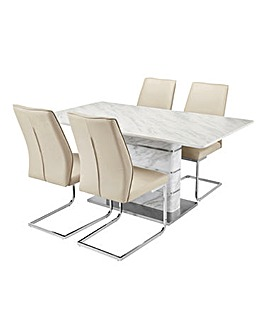Mason Marble Table 4 Atlanta Chairs