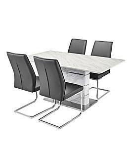 Mason Marble Table 4 Atlanta Chairs