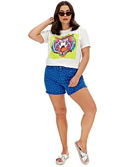 Fern Animal Print Denim Shorts