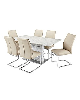 Mason Marble Table 6 Atlanta Chairs