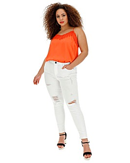 White Chloe High Waist Ripped Skinny Jeans Regular Length