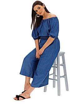 Dark Blue Tencel Bardot Jumpsuit