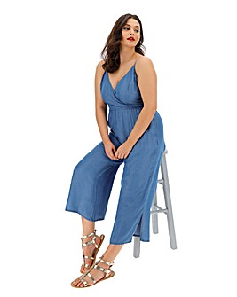 Mid Blue Tencel Wrap Culottes Jumpsuit