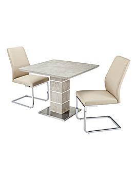 Esme Concrete Effect Square Table 2 Atlanta Cantilever Chairs