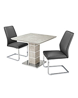 Esme Concrete Effect Square Table 2 Atlanta Cantilever Chairs
