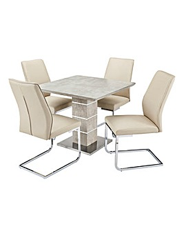 Esme Concrete Effect Square Table 4 Atlanta Cantilever Chairs