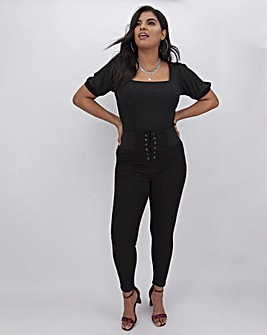 High Waist Corset Front Shaper Jeggings