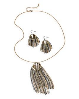 Fringed Necklace & Earings Set