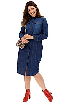 Western Style Denim Shirt Dress